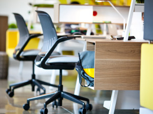 black-leather-ergonomic-office-chair-set-with-small-brown-yellow-desk